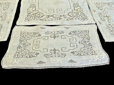 Antique Fabulous Italian Table Runner & 8 Placemats Punto Tirato Lace Inserts