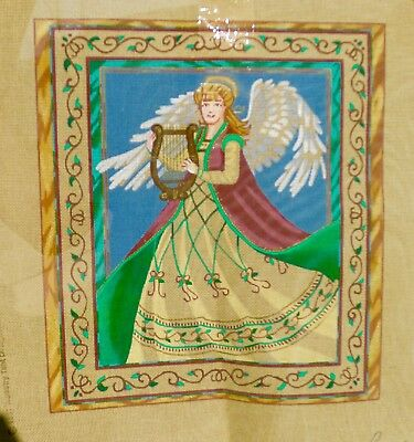 #31 Handpainted Liz angel with harp needlepoint canvas,1997 tapestry Tant Design
