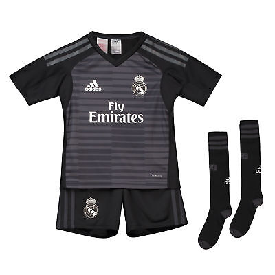 Official Real Madrid Home Goalkeeper Mini Kit 2018 19 Kids adidas Football