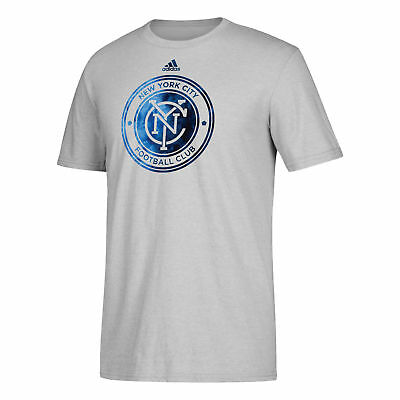 New York City FC Smoke Out T-Shirt Tee Top Light Grey Mens Football adidas