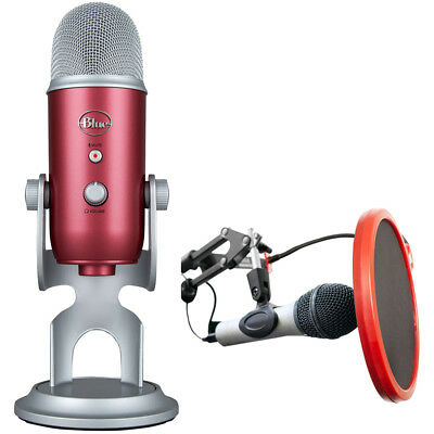 BLUE MICROPHONES Yeti Professional USB Microphone Steel Red + Mic. Wind Screen