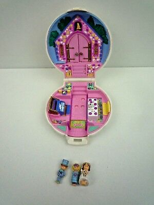 Vintage 1989 Bluebird Polly Pocket Nancy's Wedding Day Compact With 3 Figures