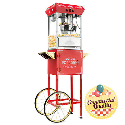 OPEN BOX - Vintage Style Popcorn Machine Maker Popper with Cart 8-Oz Kettle -Red