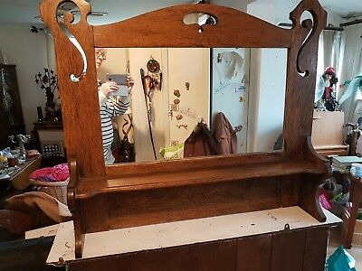 Arts And Crafts Solid Oak Mirror, Over Mantle. Antique