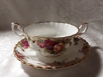 Footed Cream Soup Bowl & Saucer Set Old Country Roses by ROYAL ALBERT