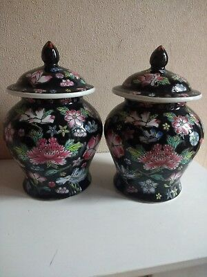 """Tw Antique/Vintage Chinese Famille Noir Vases 5.2"""" height"""