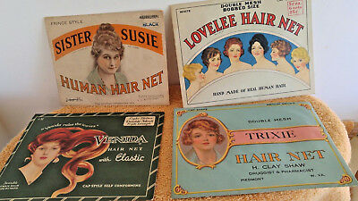 Antique 1920's Human Hair Nets ~~ Great Lithographs ~~ Lot Of 4 Packets