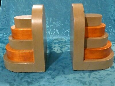 BEAUTIFUL ART DECO 1930s WOODEN BOOK ENDS