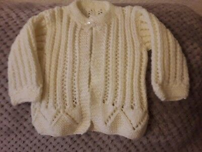 HAND KNITTED BABY CARDIGAN - Fits 0 to 3 Months in Cream