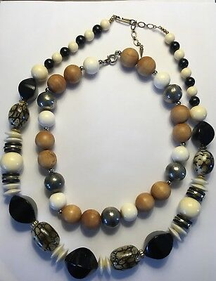 Vintage Jewelry Necklace  LOT OF 2  Wood Large Chunky Beads  Black Silver Cream
