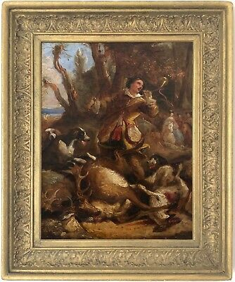 The Hunt Antique Oil Painting by Thomas Jones Barker (British, 1815–1882)