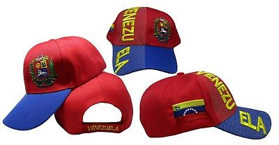 Venezuela Country Letters Emblem Red With Blue Bill 3-D Embroidered Cap Hat