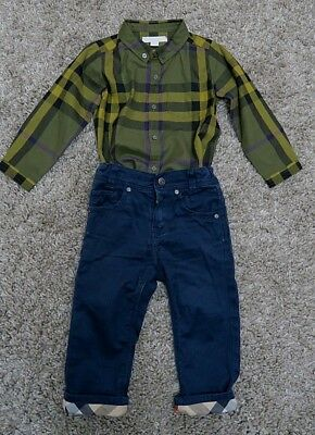 Burberry Baby Boy Outfit Set 12-18 Month Nova check Shirt and Denim Trousers