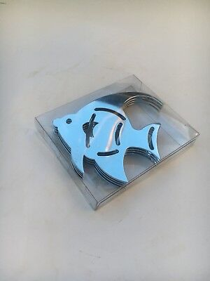 Set of 4 Coasters - Stainless Steel Fish