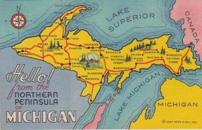 Map Postcard-Hello From The Northern Peninsula, Michigan