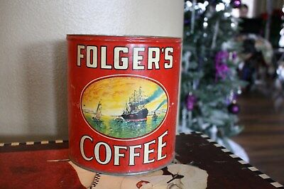 VINTAGE FOLGERS COFFEE CAN GOLDEN GATE FOLGER`S 5 lb POUND EMPTY TIN HUGE