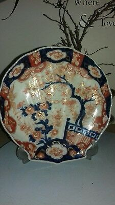 Lovely Antique Japanese Imari Plate, Scalloped Shape !! 9 inches !