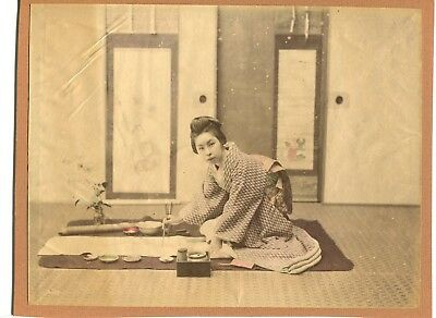 Japanese VINTAGE HAND COLORED PHOTO Meiji era(-1912) ORIGINAL