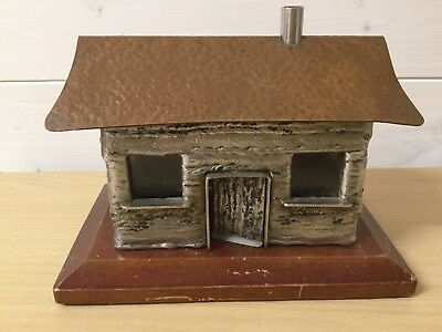 Arts & Crafts  House Money Box, Mixed Metal, Copper Etc. Glass Windows