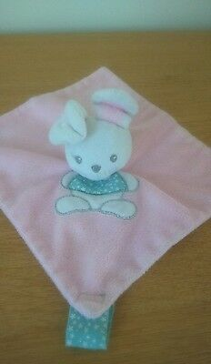 Doudou Plat Lapin beige Rose blanc CARTOON CLUB