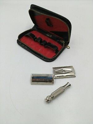 Vintage Gillette Travel Tech Short Handle Ball End Razor w/ Zipper Case L3 1966
