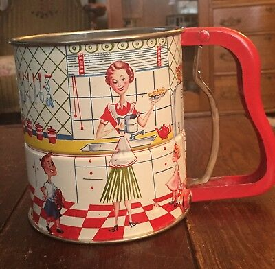 Vtg ANDROCK Hand-i-Sift SIFTER w/KITCHEN SCENE-Near EXCELLENT Condition
