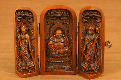 Kwan-yin chinese old boxwood hand carved buddha Blessing collectable netsuke art