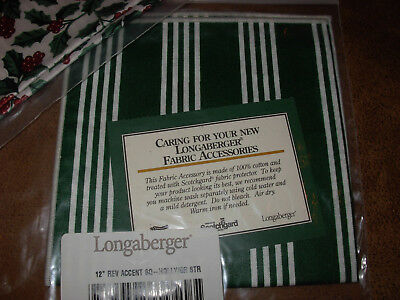 """Longaberger 12"""" Reversible Traditional Holly/Green Stripe Accent fabric Square"""