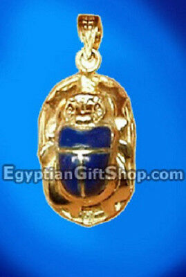 18k Gold Egyptian Scarab with Lapis Stone Pendant - Scarab Jewelry
