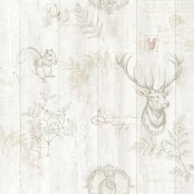 Stag Wood Panel Wallpaper Wooden Effect Grains Animal Print Trees Leaves Holden