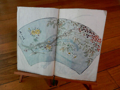 Orig Japanese Manuscript Album of Fan Designs, Nature, People, Landscapes c1790