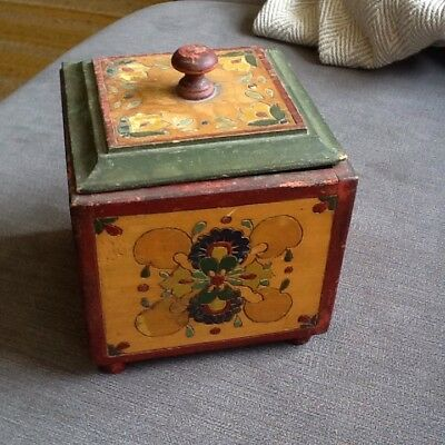 Rare 19th century Antique Painted Wooden Tea Caddy