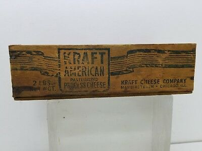 Vintage KRAFT American Wooden Cheese Box- 2 Pounds Chicago, Illinois Americana