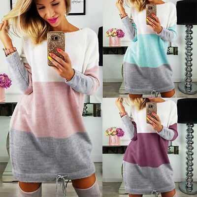 Women Sweater Long Sleeve Striped Mini Dress O-neck Casual Loose Sweater Dress