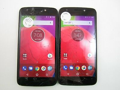 Lot of 2 Cracked Motorola Moto E4 XT1766 Unknown Carrier Check IMEI CR 3-773