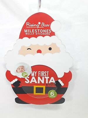 Rising Star Milestone Belly Stickers 6 Pack First Santa Visit plus 5 others