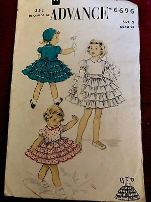 Vintage Advance Sewing Pattern 6696-1950's Girls Party Dress-Size 3-Complete