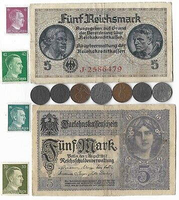 Rare Old WWII Great War German Mark Note Stamp Eagle Coin WW2 Collection Lot Set