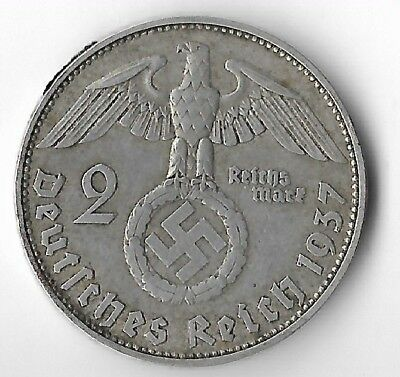 Rare Old SILVER 1937 WWII Germany Great War Eagle German MUNICH Coin US Seller