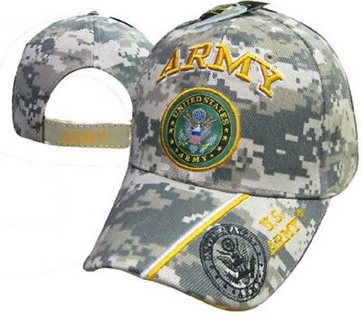 US Army Logo Emblem Logo On Bill Camouflage Camo Embroidered Cap Hat 601MC TOPW