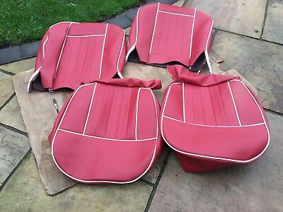 Mgb Seat Covers 1962-1968 H Section Pattern Red/White Piping , VINYL Uk Made