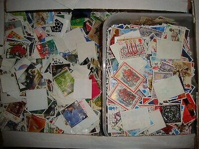 GB used stamps collection 1000 off paper GB ( kiloware ).