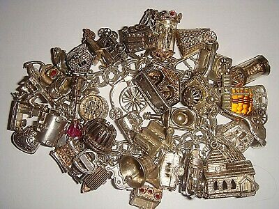 HUGE  HEAVY VINTAGE SILVER ALL NUVO & CHIM CHARM BRACELET X 37 CHARMS - 150g!