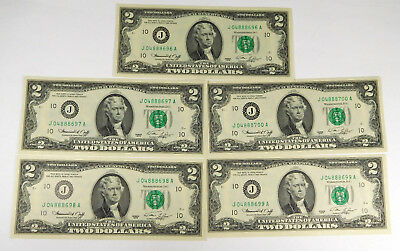 1976 $2 Federal Reserve Notes- 5 Consecutive Serial Numbers J-A Block