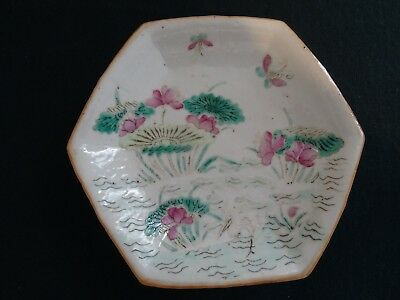 Antique Chinese Stone Ware Hand Painted Pink Green Hexagonal Pedestal Dish