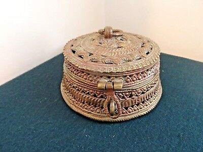 Antique Oriental Heavy Metal Circular Hinged Lock Handle Incense Burner