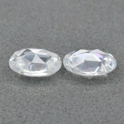 Pair 2pcs/1.91ct t.w 7x5mm VS Oval Rose-Cut  Natural Gentle Heat White Zircon