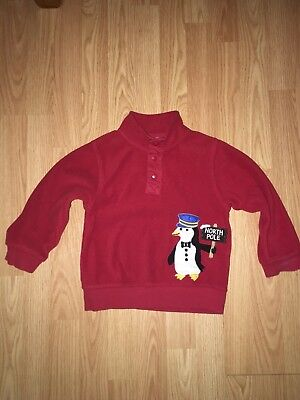 Gymboree Boy Red North Pole Penguin Pullover Fleece Sweater  Christmas 2 3T