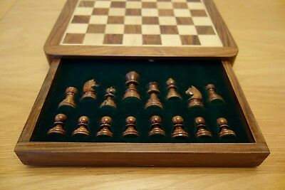 """12"""" Magnetic Chess Set - Wooden Pieces and Board - Storage Drawer and Felt Bag"""