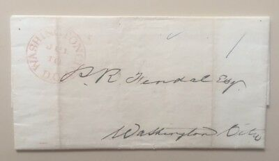 1844 stampless cover 1 cent drop rate Washington DC